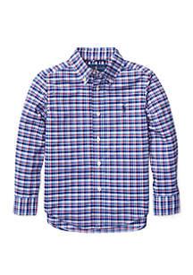 Toddler Boys Plaid Stretch Poplin Shirt