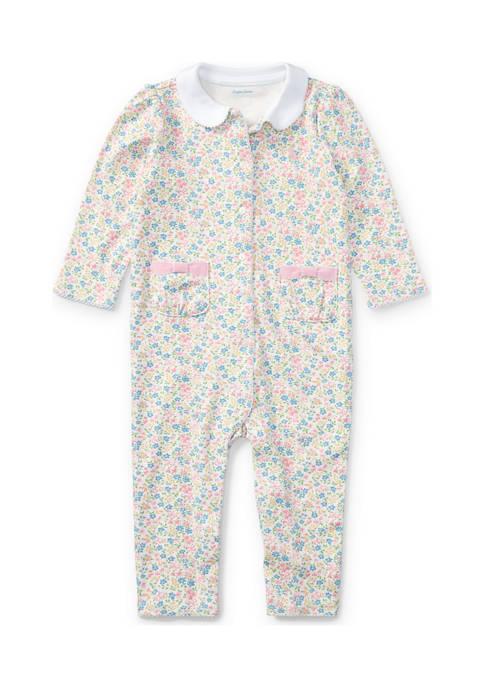 Ralph Lauren Childrenswear Floral Print Cotton Coveralls