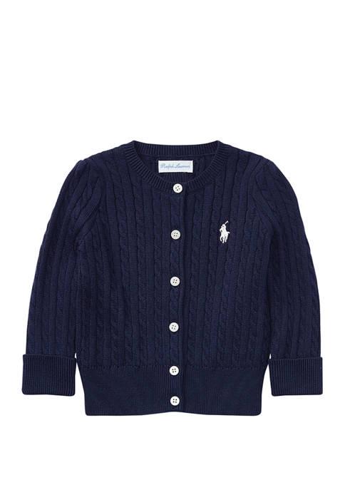 Ralph Lauren Childrenswear Baby Girls Cable-Knit Cotton Cardigan