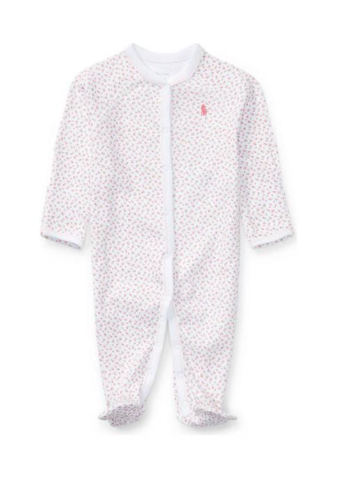 Ralph Lauren Childrenswear Baby Girls Floral Cotton Coverall