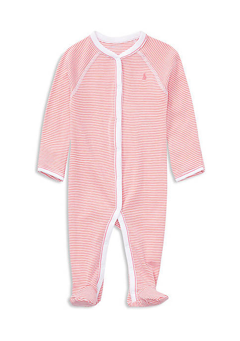 Ralph Lauren Childrenswear Infant Girls Striped Cotton Coverall