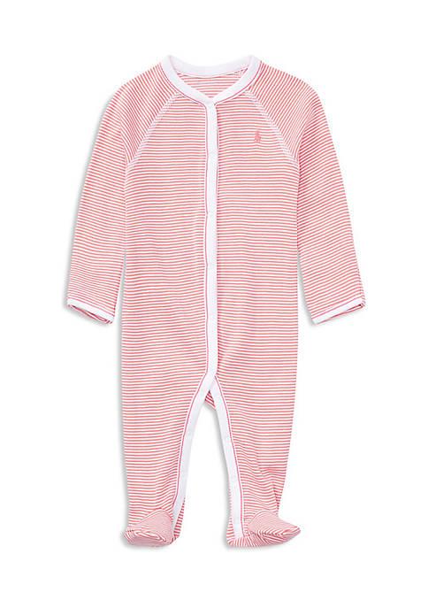 Ralph Lauren Childrenswear Baby Girls Striped Cotton Coverall