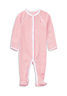 Infant Girls Striped Cotton Coverall
