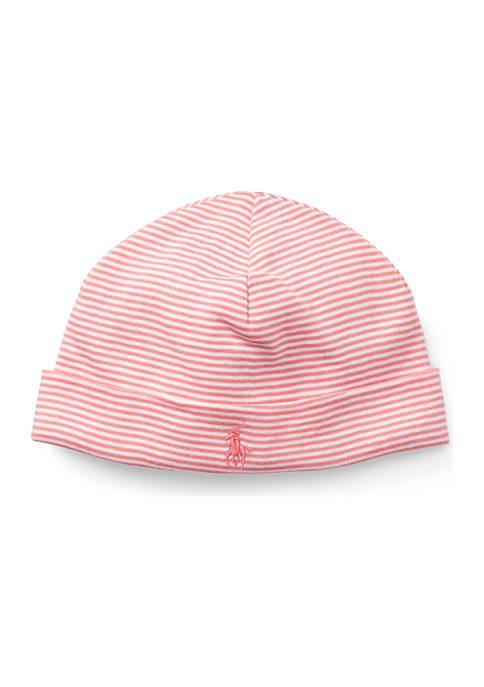 Ralph Lauren Childrenswear Baby Girls Striped Cotton Hat