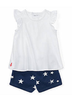 Ralph Lauren Childrenswear 2-Piece Cotton Top & Star Short Set