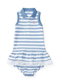 Ralph Lauren Childrenswear 2-Piece Stretch Striped Polo Dress and Bloomer Set