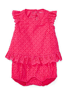 Ralph Lauren Childrenswear Eyelet Bubble One-Piece Shortall