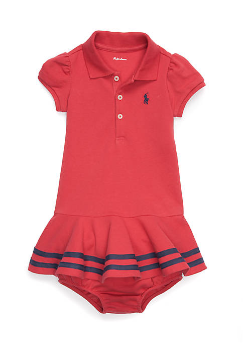 Ralph Lauren Childrenswear Newborn Girls Red Stretch Mesh