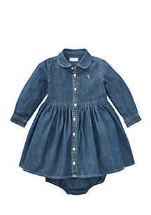 Infant Girls Denim Shirtdress and Bloomer