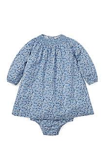 Infant Girls Floral Smocked Cotton Dress