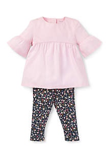 Infant Girls 2-Piece Shirred Top And Floral Leggings Set