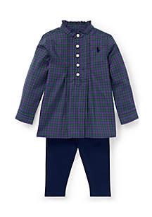 Infant Girls 2-Piece Checked Top And Leggings Set