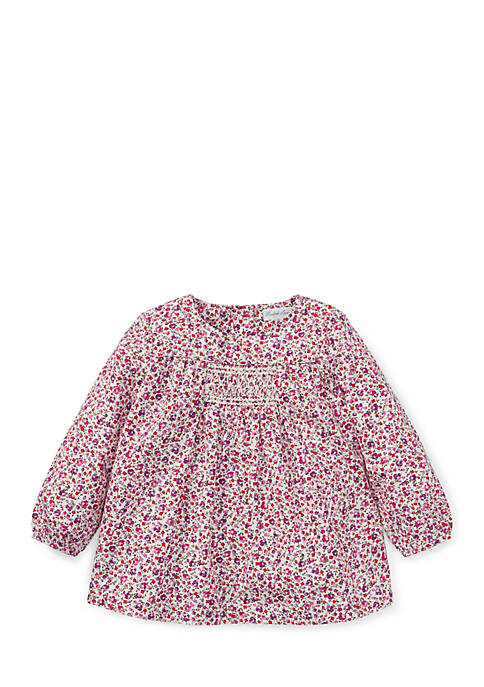 Ralph Lauren Childrenswear Infant Girls Smocked Floral Cotton
