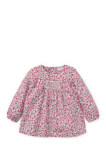 Infant Girls Smocked Floral Cotton Top