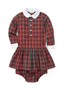 Baby Girls Plaid Poplin Dress and Bloomer