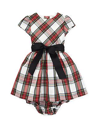 2221bf2f Infant Girls Tartan Plaid Dress & Bloomer