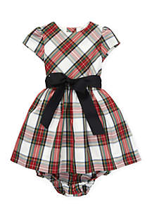 Infant Girls Tartan Plaid Dress & Bloomer