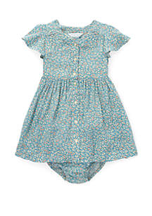 Baby Girls Shirred Floral Dress