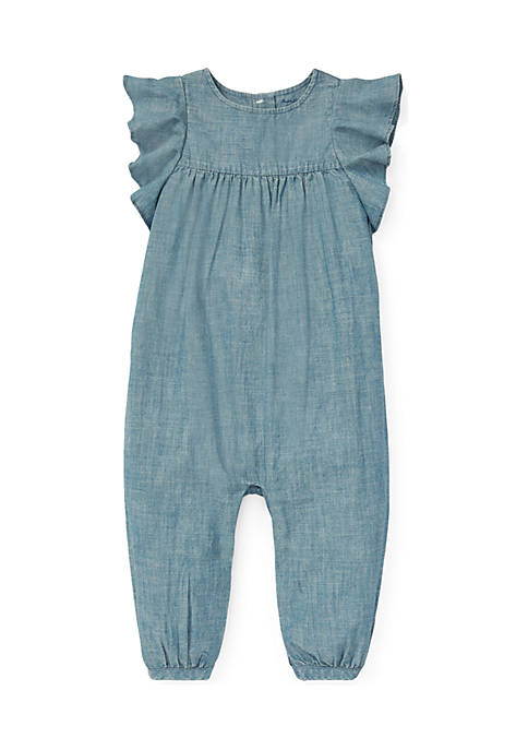 Ralph Lauren Childrenswear Baby Girls Ruffled Chambray Romper
