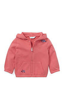 Baby Girls Embroidered Terry Hoodie
