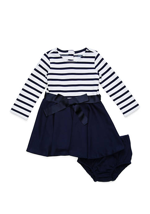 Baby Girls Striped Jersey-Ponte Dress and Bloomers