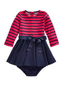 Ralph Lauren Childrenswear Baby Girls Striped Ponte Dress and Bloomers