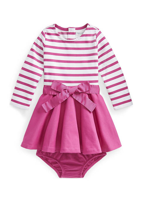 Ralph Lauren Childrenswear Baby Girls Striped Ponte Dress