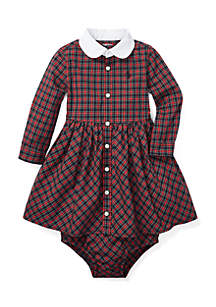 Infant Girls Tartan Shirtdress and Bloomers