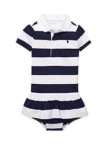 Ralph Lauren Childrenswear Baby Girls Cotton Jersey Rugby Dress