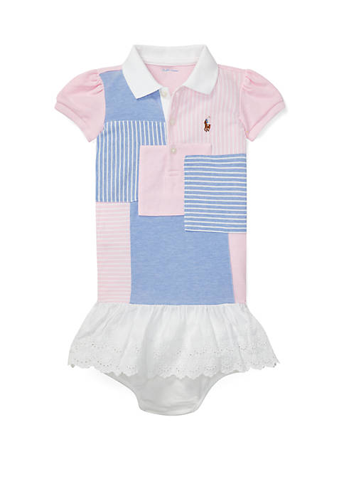 Baby Girls Patchwork Polo Dress & Bloomer