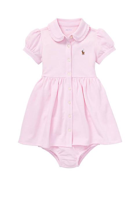 Baby Girls Knit Mesh Oxford Dress