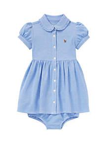 Ralph Lauren Childrenswear Baby Girls Knit Mesh Oxford Dress