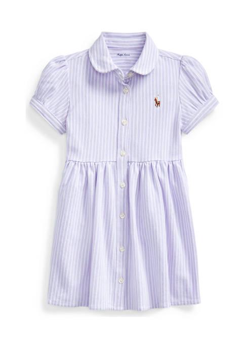 Baby Girls Striped Knit Oxford Dress