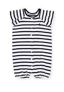 Ralph Lauren Childrenswear Baby Girls Striped Smocked Shortall