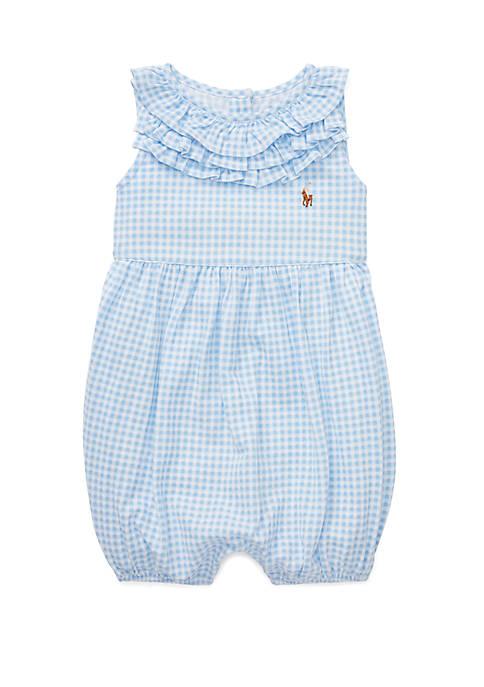 Ralph Lauren Childrenswear Baby Girls Ruffled Gingham Cotton