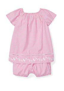 Ralph Lauren Childrenswear Baby Girls Gingham Cotton Bloomer Set