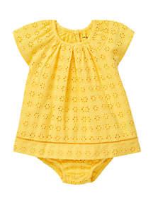 Ralph Lauren Childrenswear Baby Girls Eyelet Cotton Bloomer Set