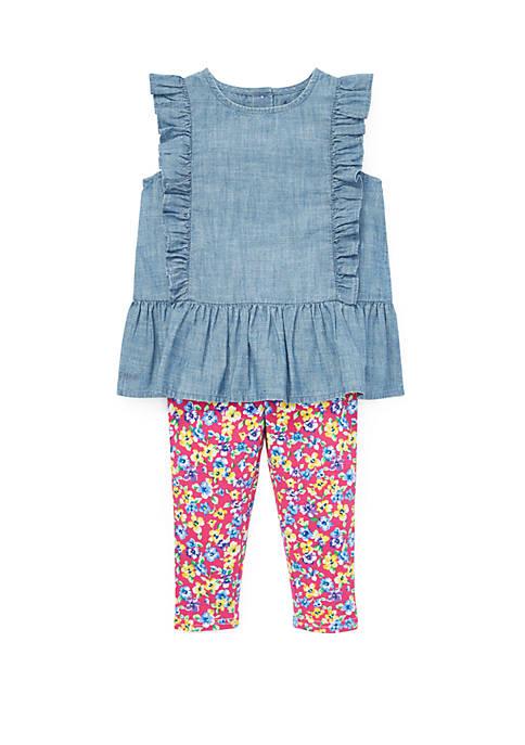 Ralph Lauren Childrenswear Baby Girls Chambray Top and