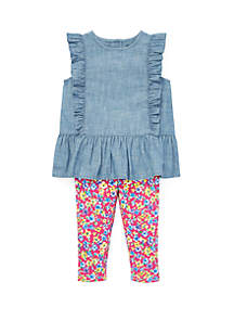 Ralph Lauren Childrenswear Baby Girls Chambray Top and Floral Leggings