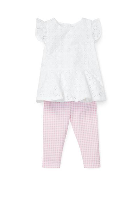 Ralph Lauren Childrenswear Baby Girls Eyelet Top and