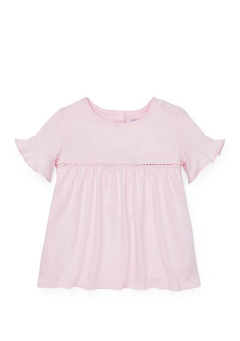 Baby Girls Ruffled Cuff Cotton Blend Top