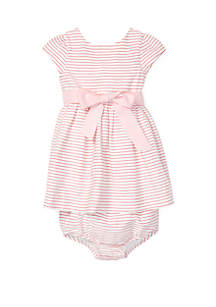 Ralph Lauren Childrenswear Baby Girls Striped Fit and Flare Dress