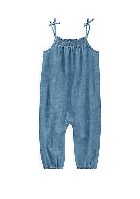 Ralph Lauren Childrenswear Baby Girls Indigo Cotton Chambray