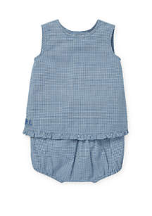 48466a9ca ... Ralph Lauren Childrenswear Baby Girls Gingham Cotton Top and Shorts Set