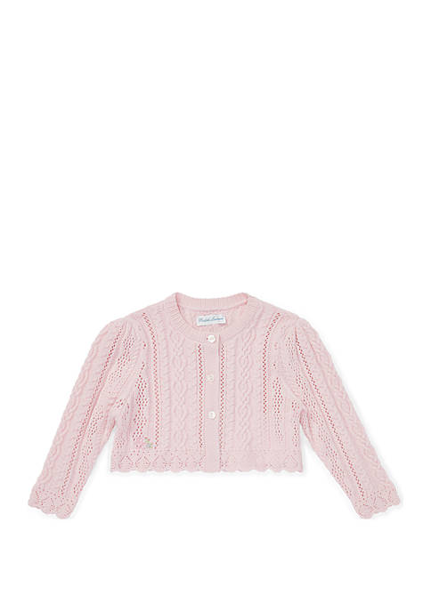 Baby Girls Pointelle-Knit Cotton Shrug