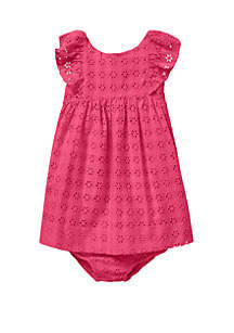 Ralph Lauren Childrenswear Baby Girls Eyelet Cotton Dress & Bloomer