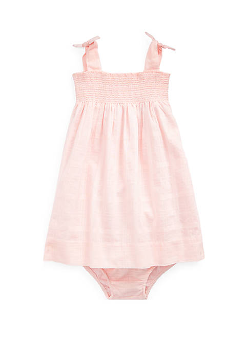 Ralph Lauren Childrenswear Baby Girls Smocked Cotton Dress