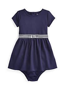 Ralph Lauren Childrenswear Baby Girls Ponte Fit and Flare Dress