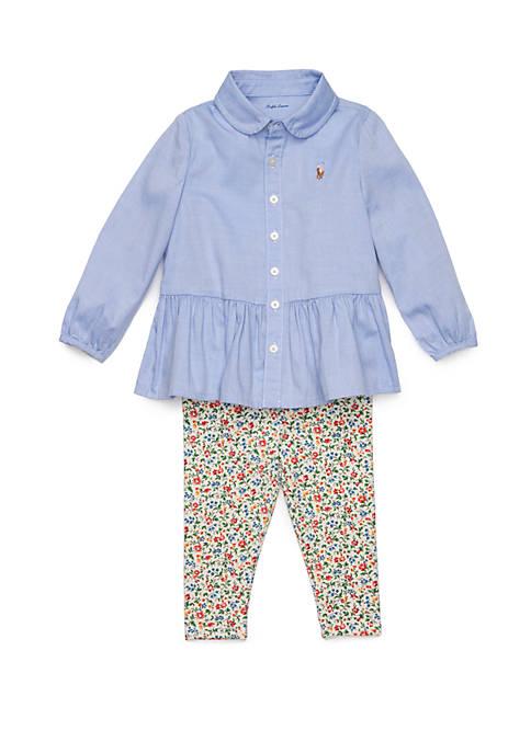 Ralph Lauren Childrenswear Baby Girls Peplum Shirt &