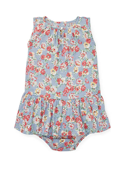 Baby Girls Floral Cotton Dress and Bloomer